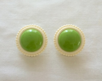 1960's Plastic Earrings ~ Green + White ~ Pierced ~ Mod ~ Vintage 60s Jewelry