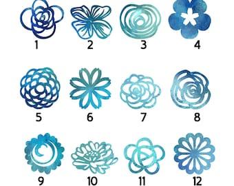 Fridge magnet, Blue papercut magnet, Watercolour magnet, Watercolor, Magnet, Set of magnets, Paper cut fridge magnet, refrigerator magnet