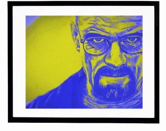 "PRINTABLE Walter White Digital Art 8""x10"" Breaking Bad Illustration Heisenberg Art Print Instant Digital Download Drawing"
