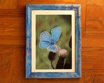 Nature art - animal realism - hyperrealism - blue painting - original drawing - animal drawing - small artwork - realistic butterflies