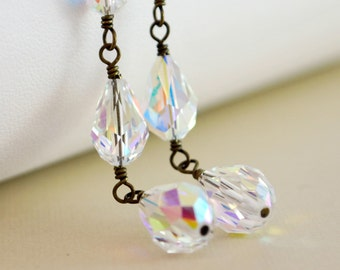 Long Crystal Earrings Dangle Swarovski Crystal Clear AB Leverback Earwires Wire Wrapped Antiqued Brass Jewelry