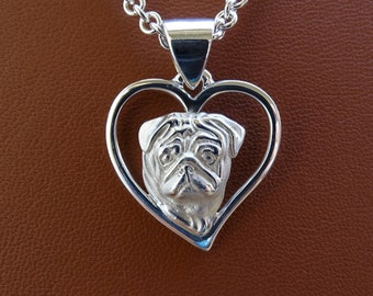 Small Sterling Silver Pug Head Study On A Heart Pendant
