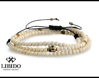 Mens skull bracelet, Mens bracelet, men beaded bracelet, Gift for him, mens bracelet, bracelet for men , skull bracelet ,men beaded bracelet