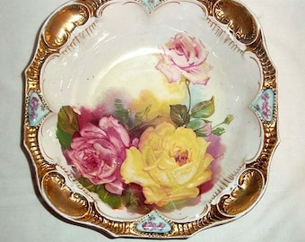 Antique Porcelain Master Berry Bowl with Roses Design,  Lavish Gold Decoration and Blown Out Mold Designs