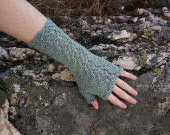 Light Blue Knitted Fingerless Gloves