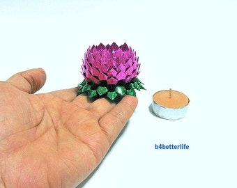 A piece of Small Size Pink Color Hand-folded Origami Lotus. (4D Glittering paper series).