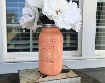 Half Gallon Painted Mason Jars/Wedding Centerpieces/Large Mason Jars/Rustic Decor