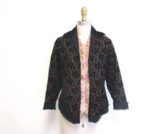 Vintage Victorian Jacket | Velvet Flocked Floral Silk 1900s Jacket | size small