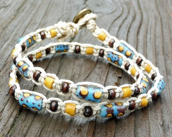 Hemp Wrap Bracelet - Blue Recycled Glass Beads, Wood Beads, Natural Hemp Bracelet