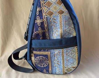Handmade Tapestry Sling Bag Shoulder Bag Teardrop in Navy with Sapphire Tapestry