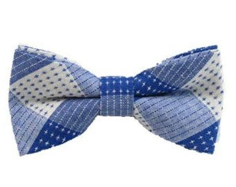 Blue and White Cotton Bow Tie Bow Tie Groomsmen Bow Tie Wedding Bow Tie Wedding Tie Pre Tied Bow Tie