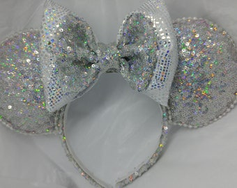 Holographic sequin Minnie Mouse inspired ears.