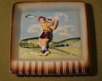 ASHTRAY Golf Golfer 1950s kitsch Vivid Relief