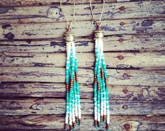 Long Fringe Earrings, Seed Bead Earrings, Tribal Jewelry, Tassel Earrings, Seed Bead Fringe Earrings