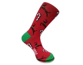 Mens Socks | Womens Socks | Red Socks | Christmas Socks | Holiday Socks | Candy Cane Socks | Reindeer Socks | Dress Socks | Pattern Socks