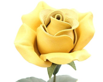 Leather rose yellow long stem leather flower third anniversary wedding gift 3rd anniversary leather anniversary bouquet