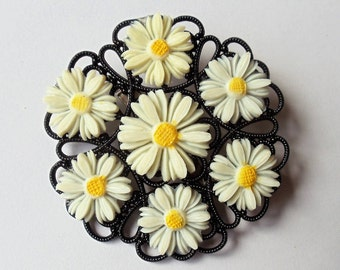 Vintage Celluloid Daisy Flower Pin Brooch, Open Design Lucky Seven Daisies White Yellow & Black Flower Pin, Extra Large Figural Floral Pin