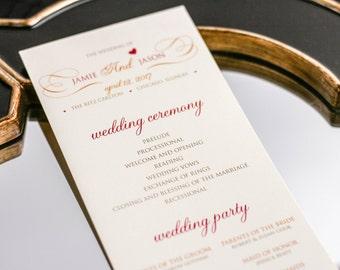 "Ceremony Program, Romantic Event, Communion Program, Baptism, Wedding Program, Gold and Coral - ""Romantic Flourish"" Flat Program - DEPOSIT"