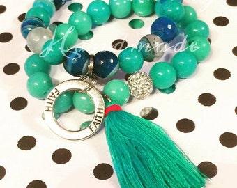 Faith Tassel  Gemstone Bracelet Set