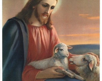 Jesus, the Good Shepherd Print Picture Art Printed in Italy
