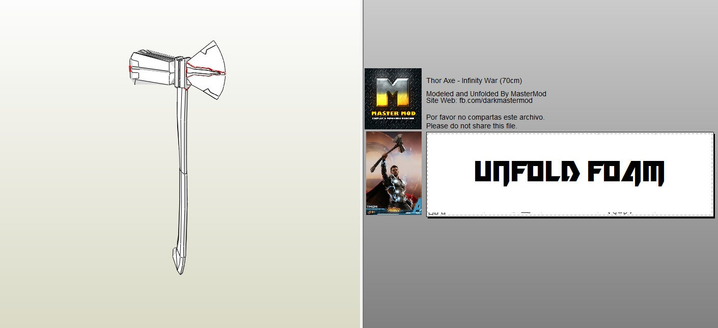 thor stormbreaker infinity war pepakura files from