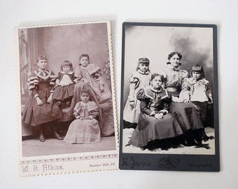 Cabinet Card Photographs, Antique Black White Portraits, Victorian Children, Fine Art Photography, Siblings Girls, 1800s Studio Photography