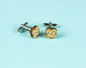 WOODEN CUFFLINKS for men, laser cut: KNOT