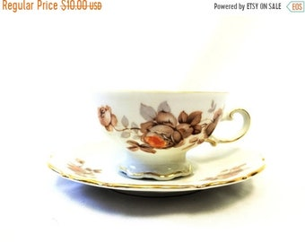 ON SALE Mitterteich Norwey Rose Teacup & Saucer, Bavaria, Germany, German Teacup and Saucer