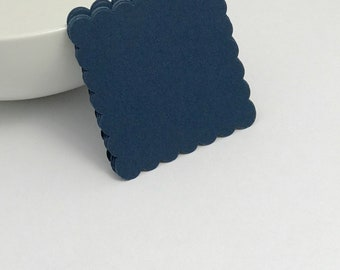 die cuts navy blue scalloped square die cuts, gift tag, scrapbooking, journal spot, paper. papercrafts card making stationery paper supplies
