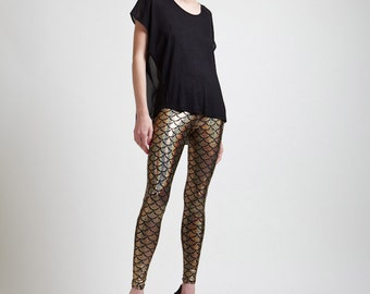 Brilliant Gold Mermaid or Dragon Super High Waisted Holographic Leggings