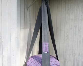 Cat Bed, Grey & Raspberry Flannel, Hanging Cat Bed, Single Kitty Cloud, Pet Furniture, Cat Gift, Cat Tree