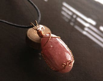 Rhodochrosite and Herkimer Diamond Necklace, Rhodochrosite Necklace