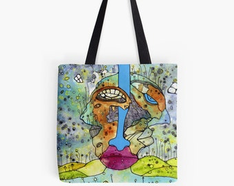 2 Faced Floral Garden Tote Bag - Original art by Surreal artist C.Cambrea - Beach bag - Accessories - Bohemian Design
