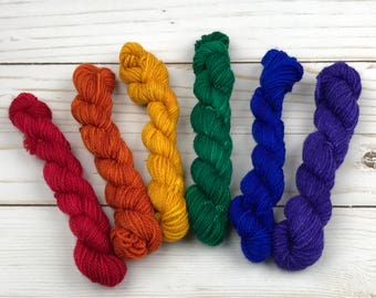 LIMITED EDITION Rainbow Mini Skein Set Hand Dyed Yarn 80/20 Superwash Merino Nylon 3 Ply knitting wool knitting yarn hand dyed