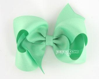 """Girls Hair Bow - mint hair bow - large hair bows - girls big bows - hair bows for toddlers - big hair bows - 4 inch bows - girl hair bows 4"""""""