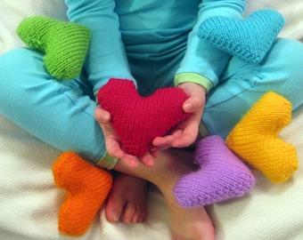 Kids Toys Hand Knit Rainbow Hearts Love Valentines Toys Photo Props Plush Waldorf