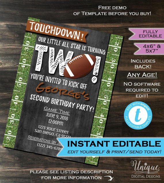 Football Birthday Invite