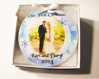 First Christmas married ornament- Christmas Ornament - Our First Christmas - First Christmas - Wedding Ornament - Newlywed Ornament