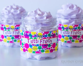 Fluffy Whipped Soap - Tutti Fruity -  4 oz. - Vegan Friendly - Fruity Cereal Scent, Purple Soap
