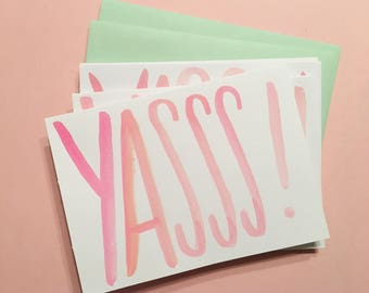 Yasss! cards | Set of 4 hand-painted notecards | Handmade | READY TO SHIP