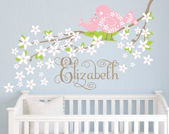 Cherry Blossom Flowers with birds decal - flowers branch - personalized name girls room decals - branch cherry blossoms nurser decal c343