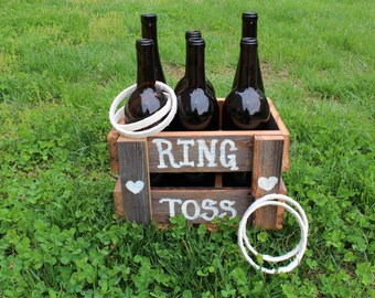 Rustic Ring Toss Game,brown glass,reclaimed barn wood,rustic wedding,wedding reception,wedding kids game,childrens game,childrens activity