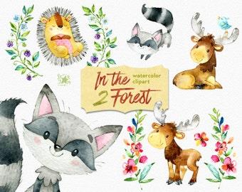 In the Forest 2. Watercolor animals clip art, elk, hedgehog, raccoon, moose, woodland, wreath, wild berries, invite, baby showers, flowers