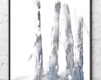 Black Painting Tree Art Landscape Abstract Giclee Print Office Wall Decor, Watercolor Painting Birch, White Grey Monochromatic Print,Him/Man