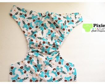 Adorable Turquoise Raccoon  One Size Pocket Diaper, Cloth Diaper (Photoshoot)