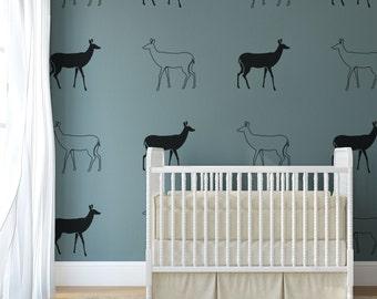 Vinyl Wall Decal Doe Outline, Deer Graphic- 12 Decals, Wallpaper, Stickers, item 10047