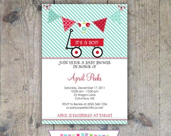 RED WAGON Baby Shower Invitation - Printable