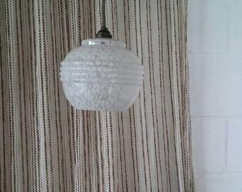 Chandelier hanging globe opaline vintage Scandinavian 50's