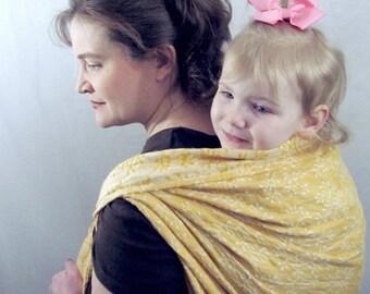 SALE Linen Baby Wrap - pure linen, Woven 100% pure Linen Jacquard Weave - Golden Wheat -Size 4 - DVD included
