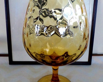Mid Century Amber Gold Brandy Snifter - Faceted Glass - Retro Barware 1960s, 1970s
